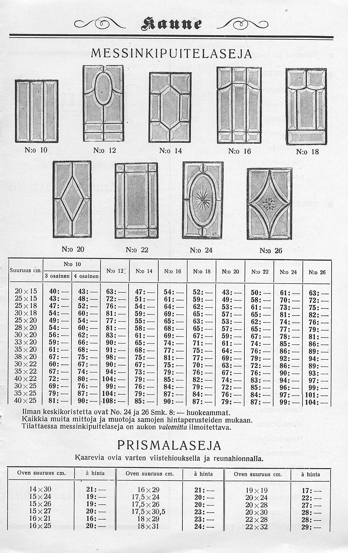 Brilliant-hiottua lasia yhdistettynä lyijylasitukseen lasihiomo ja peilitehdas Kauneen luettelossa vuodelta 1934